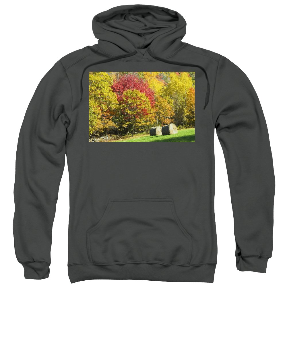 Agriculture Sweatshirt featuring the photograph Autumn Hay Being Harvested In Maine by Keith Webber Jr