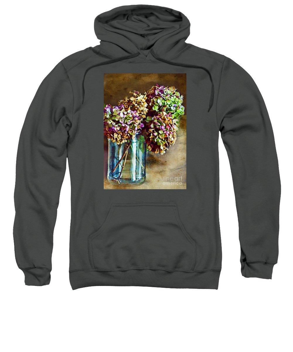 Nature Sweatshirt featuring the digital art Autumn Hydrangeas Photoart by Debbie Portwood
