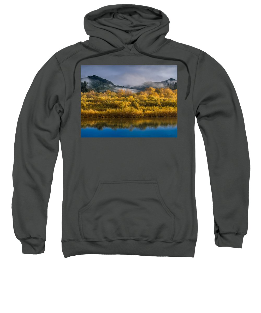 Fog Sweatshirt featuring the photograph Autumn On The Klamath 1 by Greg Nyquist