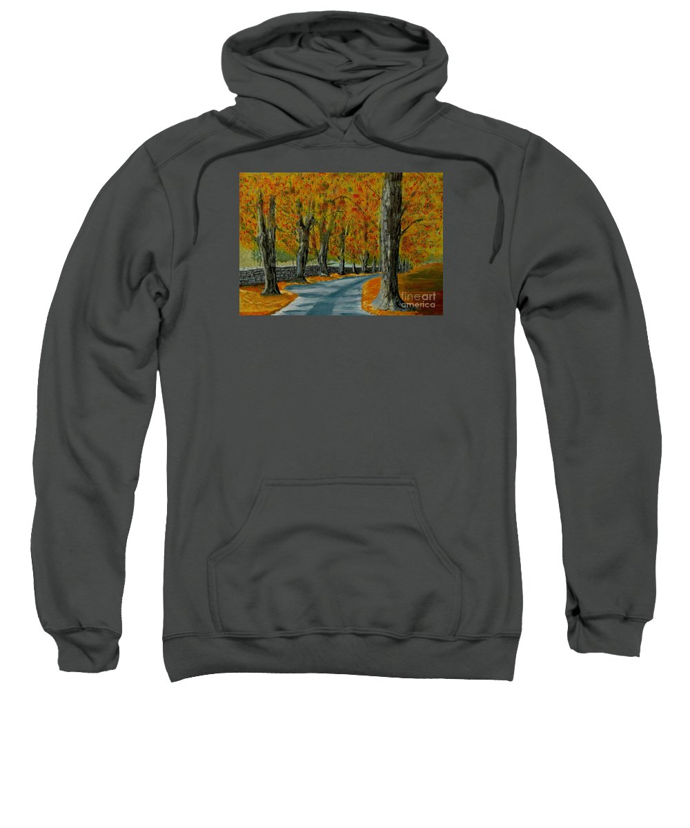 Autumn Sweatshirt featuring the painting Autumn Pathway by Anthony Dunphy