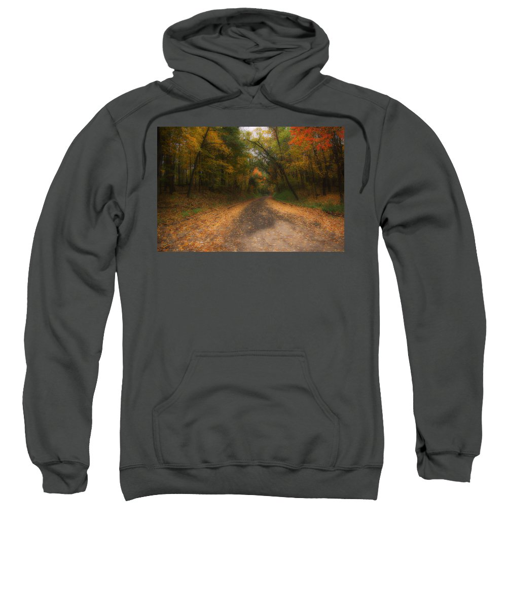 Michigan Sweatshirt featuring the photograph Autumn Road by Gary Richards
