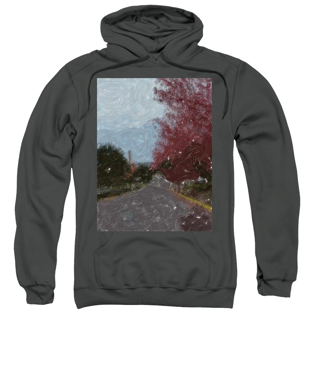 Autumn Sweatshirt featuring the painting Autumn Road by Sergey Bezhinets