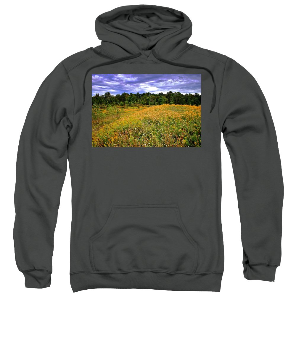 Hdr Sweatshirt featuring the photograph Autumns Brilliance Hdr by Frozen in Time Fine Art Photography