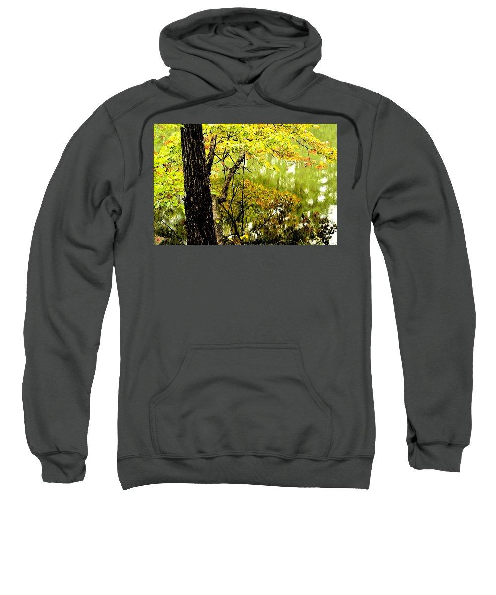 Autumn's First Reflections Sweatshirt featuring the photograph Autumn's First Reflections II by Maria Urso
