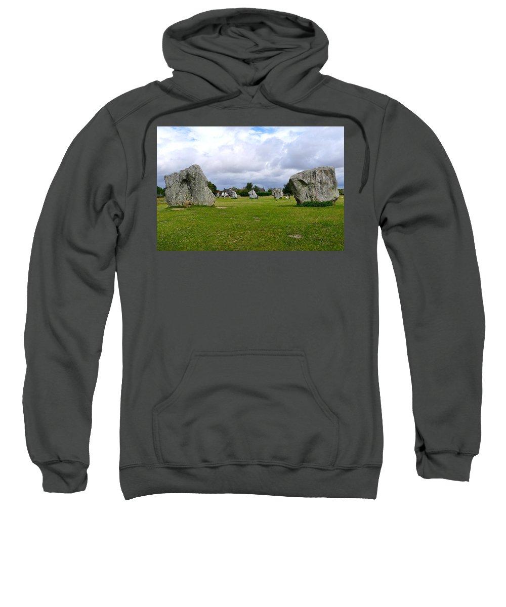 Avebury Sweatshirt featuring the photograph Avebury's Southern Entrance Stones by Denise Mazzocco