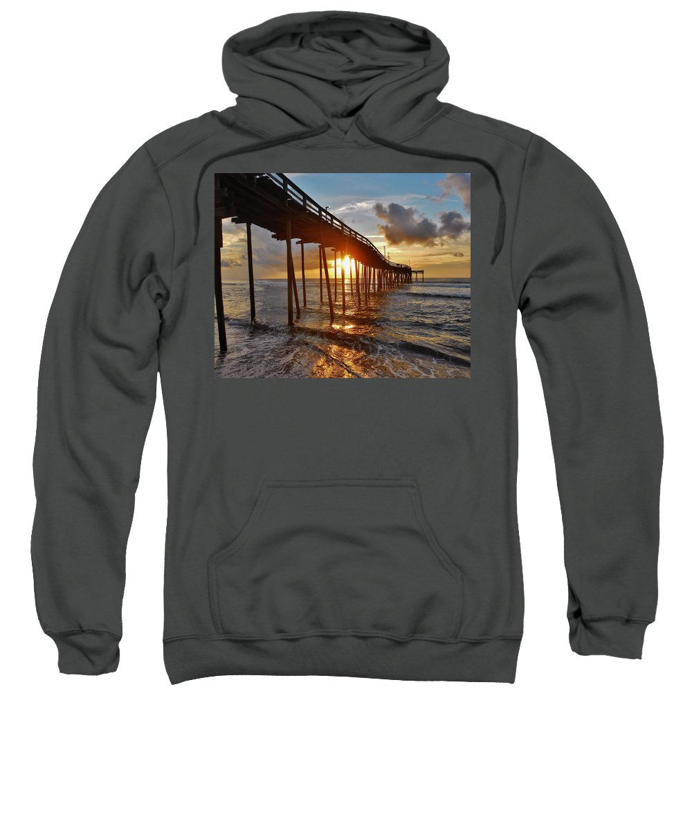 Mark Lemmon Cape Hatteras Nc The Outer Banks Photographer Subjects From Sunrise Sweatshirt featuring the photograph Avon Pier Sunrise 5 8/06 by Mark Lemmon
