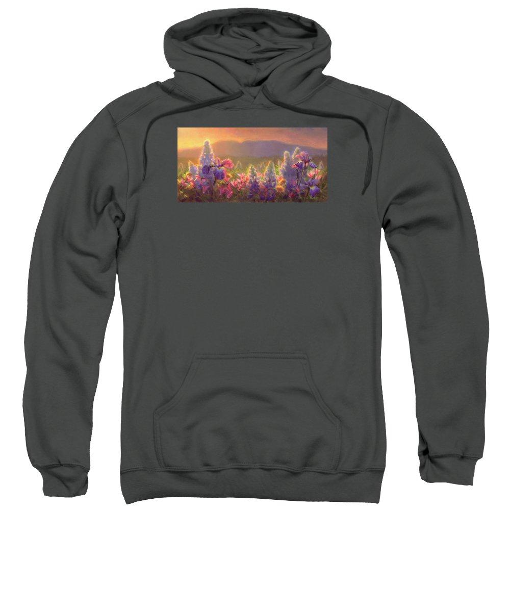 Spring Sweatshirt featuring the painting Awakening - Mt Susitna Spring - Sleeping Lady by Karen Whitworth