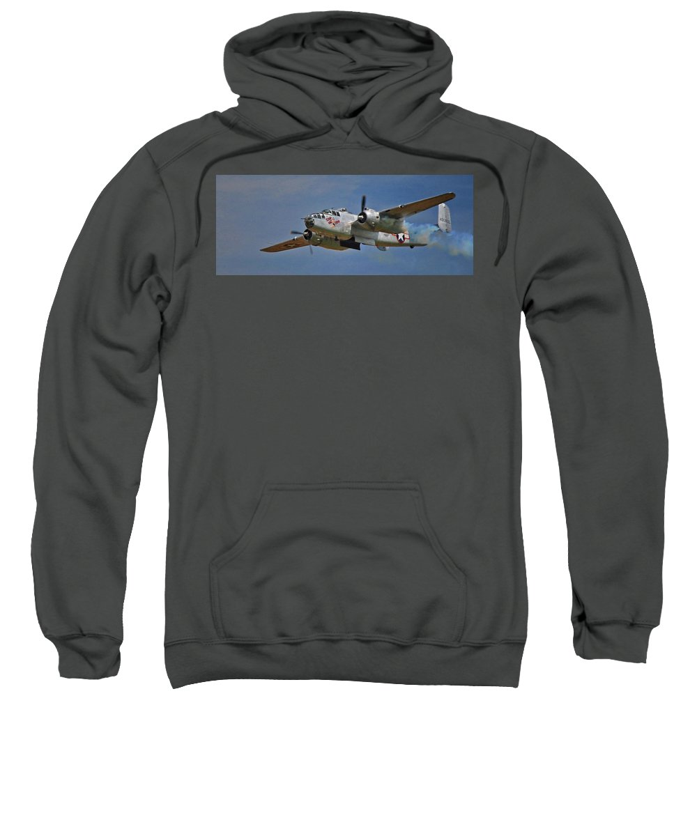 Airplane Sweatshirt featuring the photograph B-25 Take-off Time 3748 by Guy Whiteley