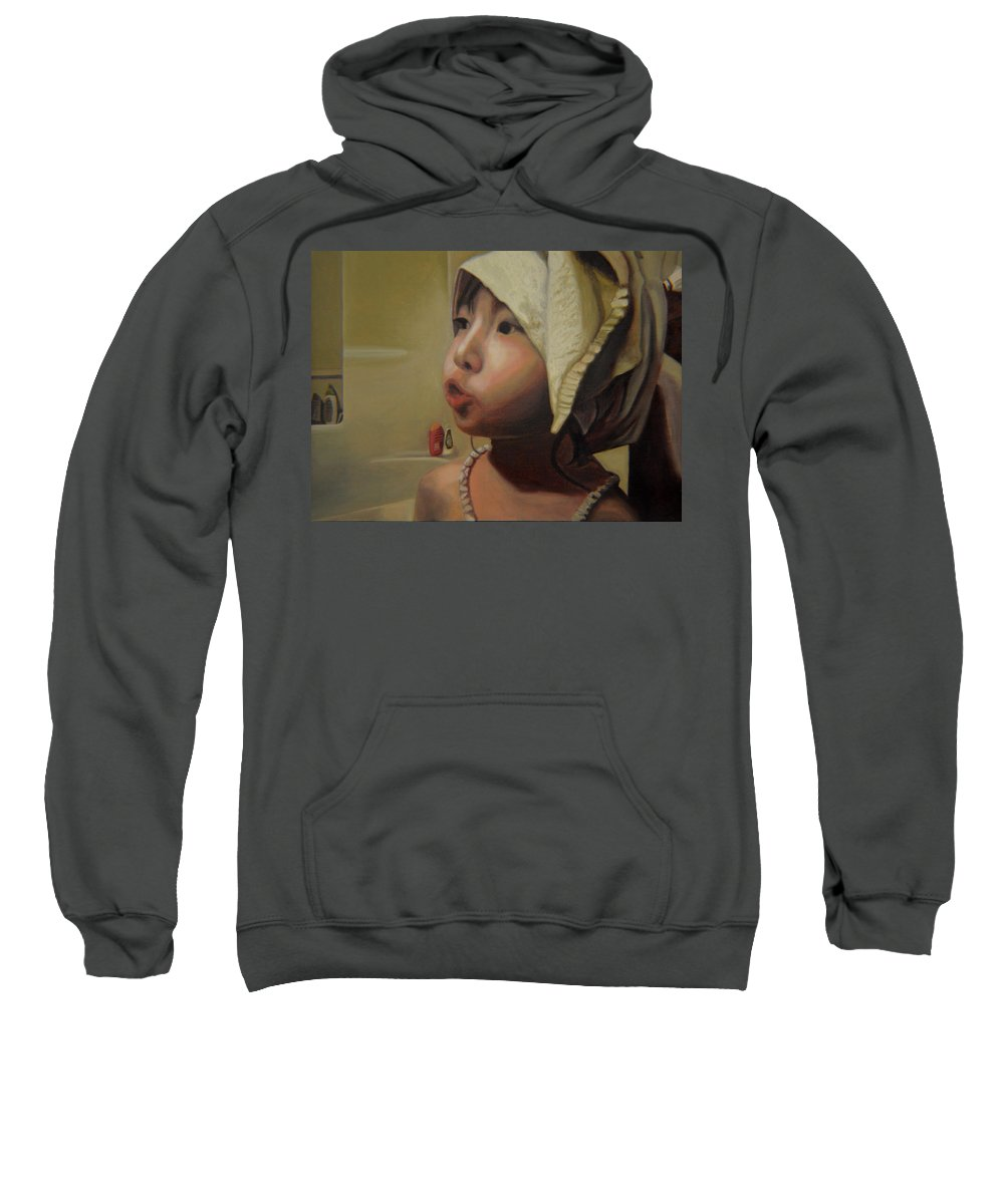 Figure Sweatshirt featuring the painting Baby Bath Mama by Thu Nguyen