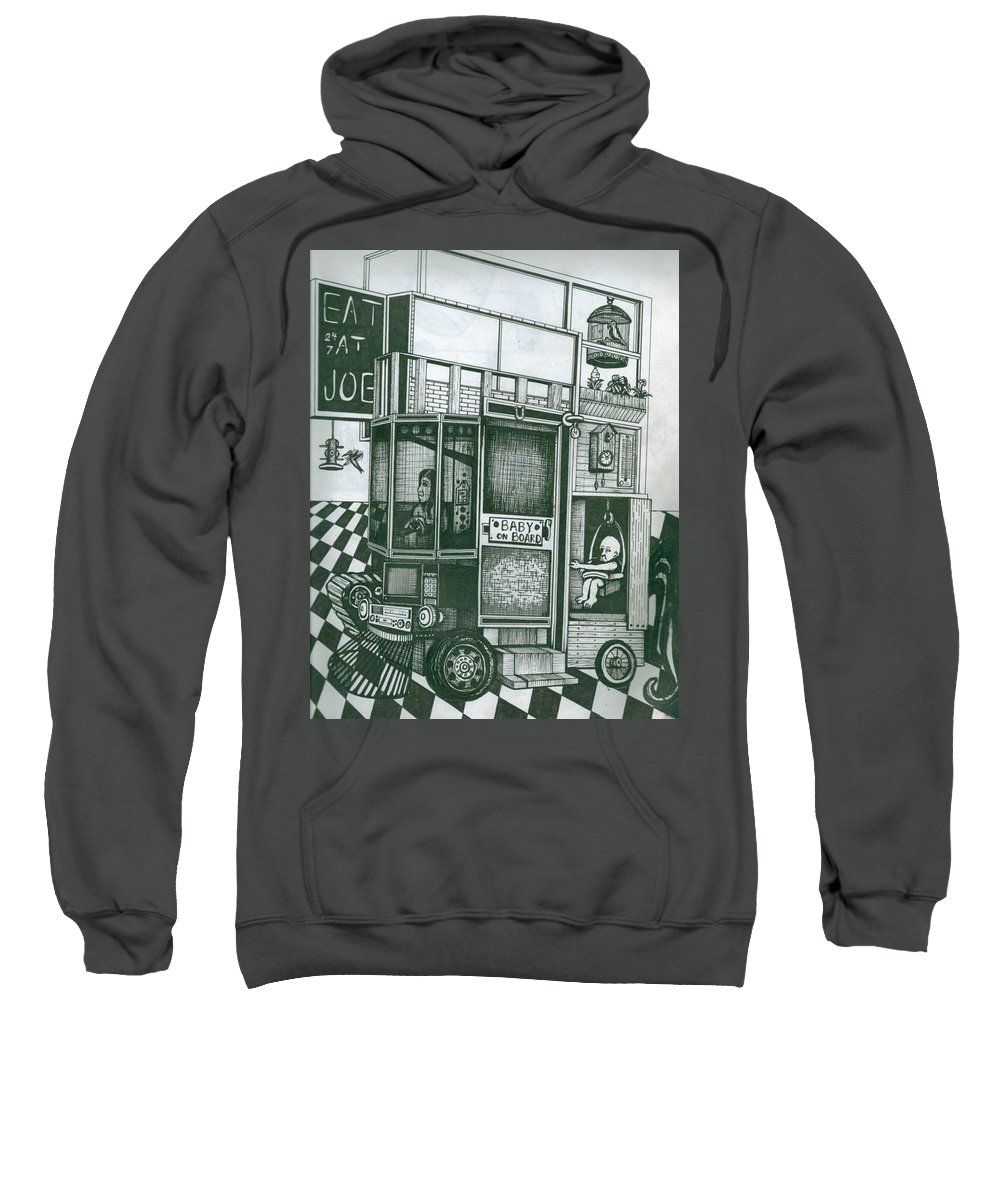 Ink Sweatshirt featuring the painting Baby Carriage by Richie Montgomery