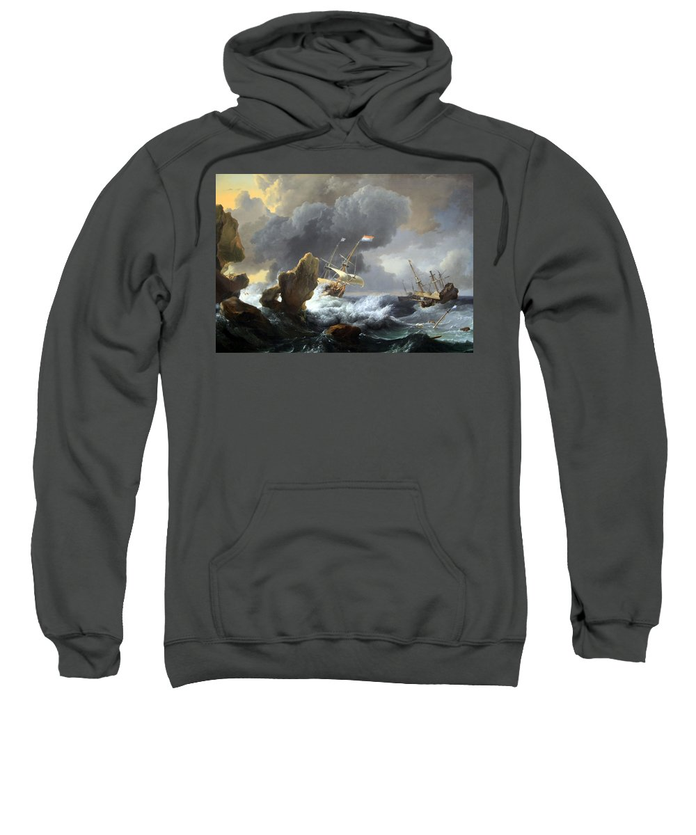 Ships In Distress Off A Rocky Coast Sweatshirt featuring the photograph Backhuysen's Ships In Distress Off A Rocky Coast by Cora Wandel