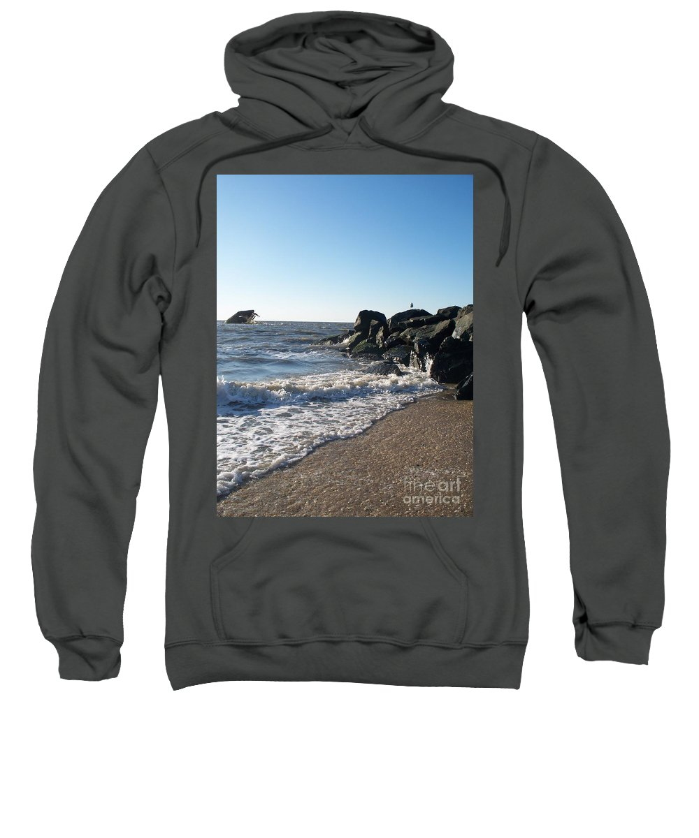 Backwash Sweatshirt featuring the painting Backwash On Sunset Beach Cape May by Eric Schiabor