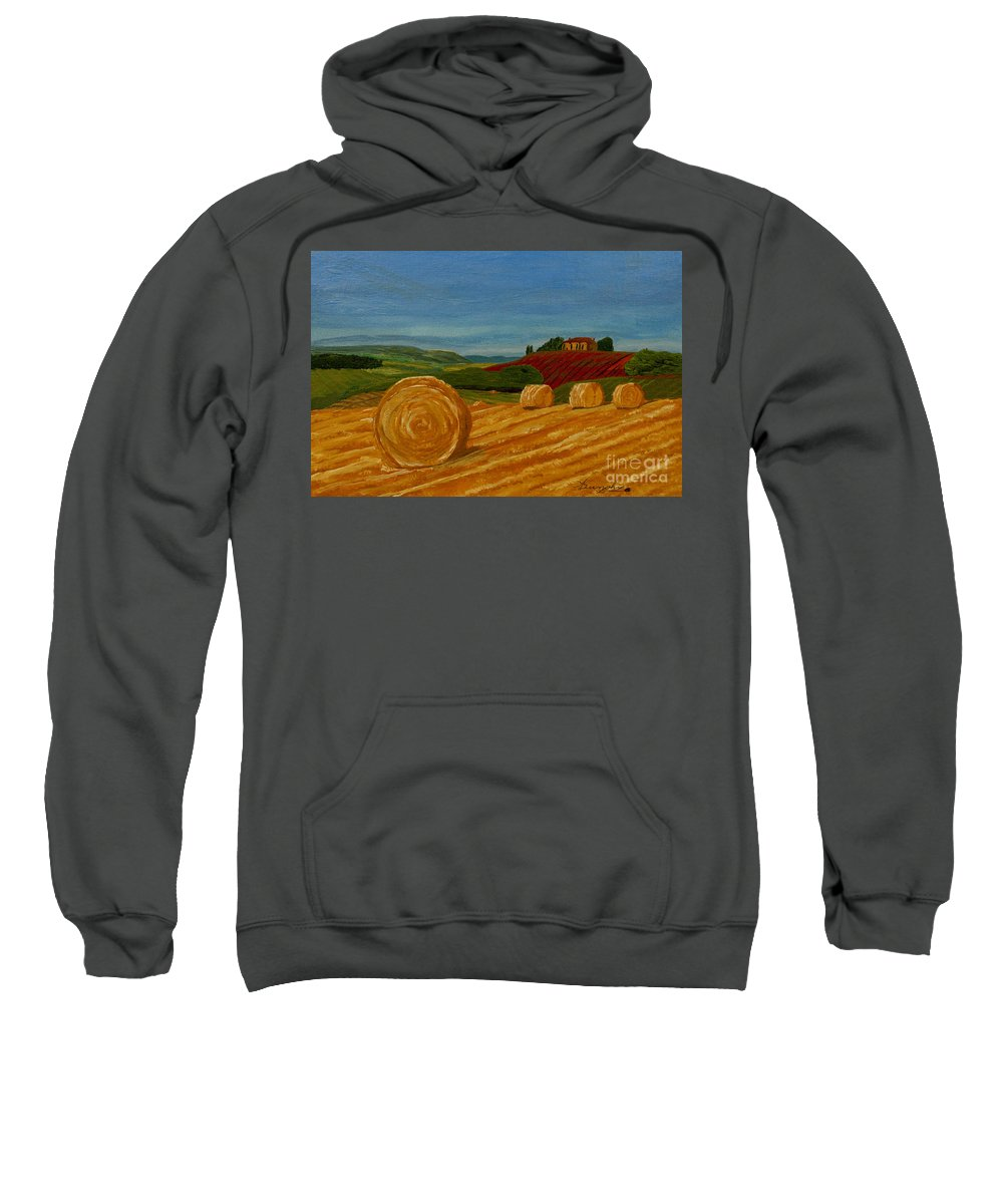 Hay Sweatshirt featuring the painting Field Of Golden Hay by Anthony Dunphy