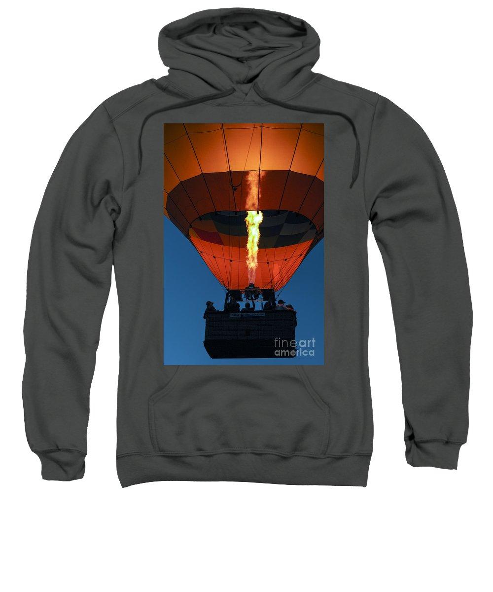 Hot Air Balloon Ride Napa Valley California Basket Baskets Fire Fires Burner Burners Passenger Passengers People Persons Pilot Pilots Motion Still Life Sweatshirt featuring the photograph Balloon Ride At Dawn by Bob Phillips