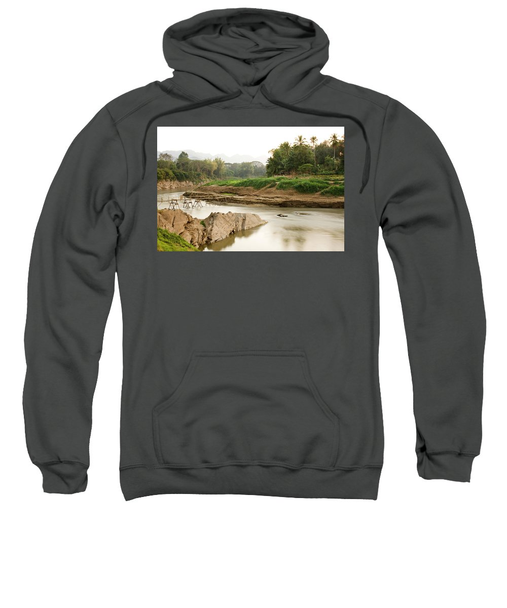 Bamboo Sweatshirt featuring the photograph Bamboo Bridge At The Tip Of The Luang by Matthew Wakem