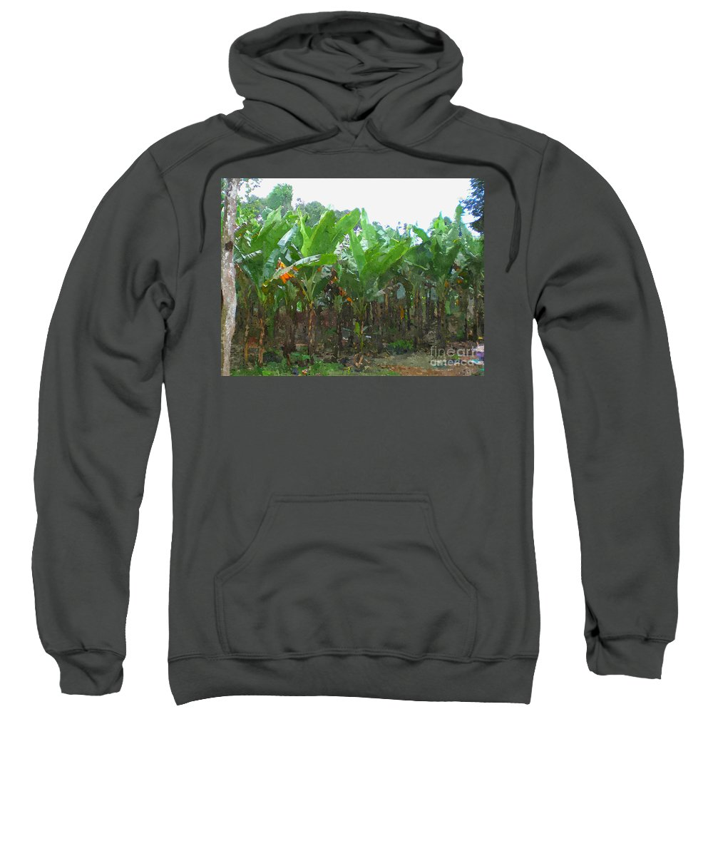 Banana Sweatshirt featuring the painting Banana Field by Jeelan Clark