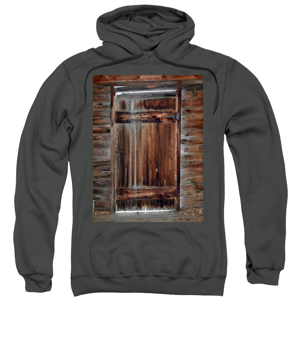 Cabins Sweatshirt featuring the photograph Barn Door by Robert Margetts