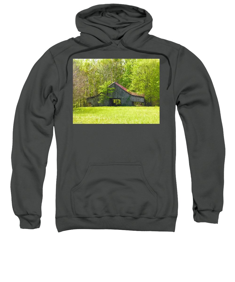 Barn Sweatshirt featuring the photograph Barn From The Forgotten Farm by Nick Kirby