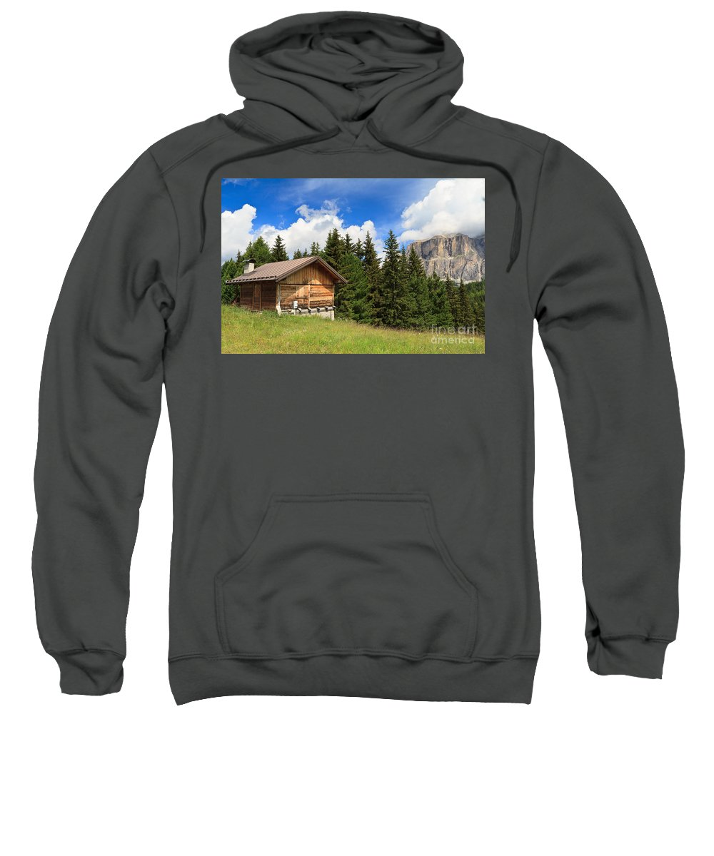 Alpine Sweatshirt featuring the photograph barn on Alpine pasture by Antonio Scarpi
