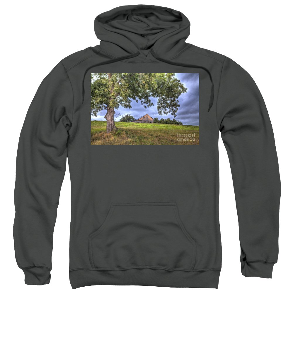 2013 Sweatshirt featuring the photograph Barn Under A Tree. by Larry Braun