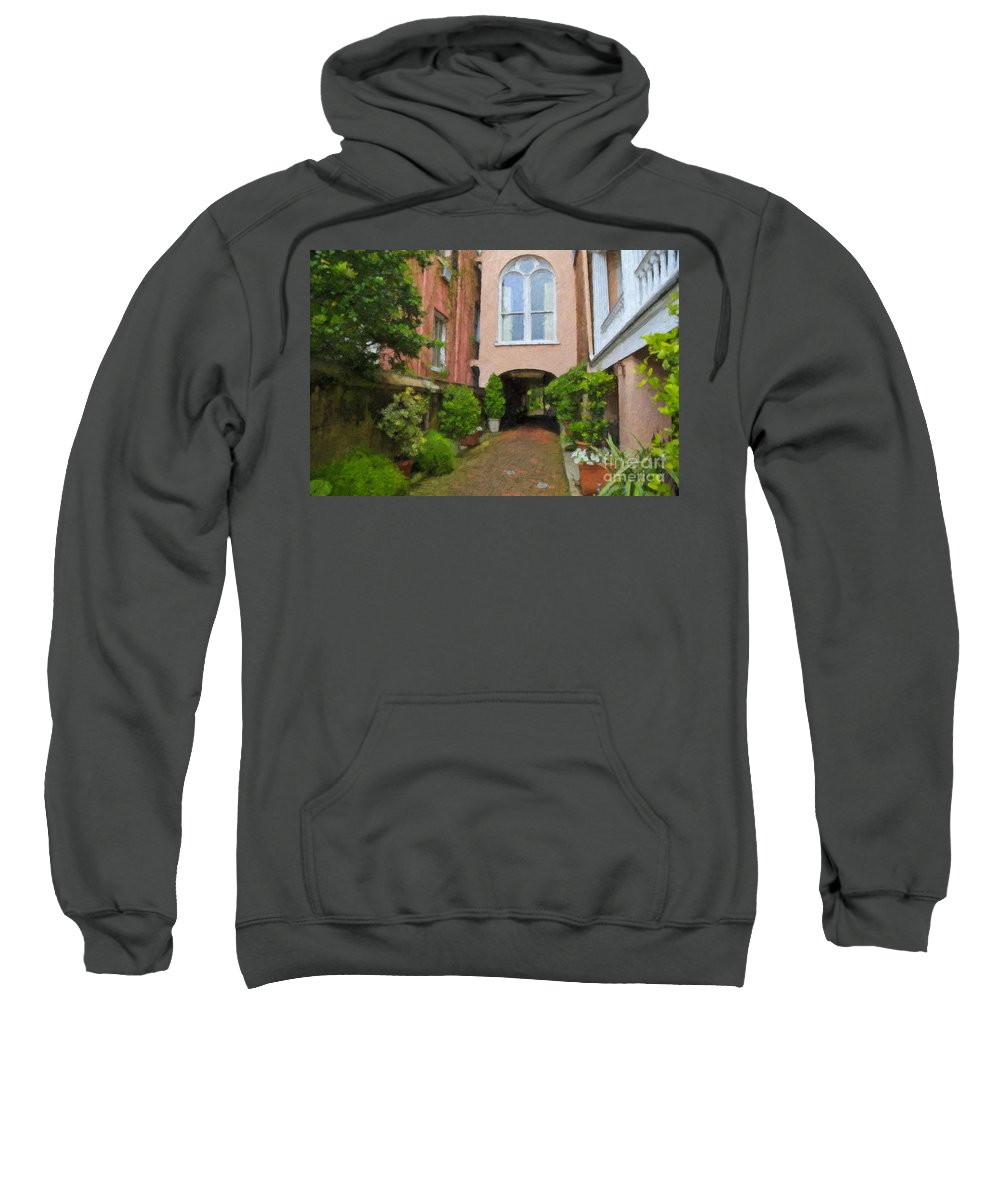 Battery Carriage House Inn Sweatshirt featuring the digital art Battery Carriage House Inn Alley by Jill Lang