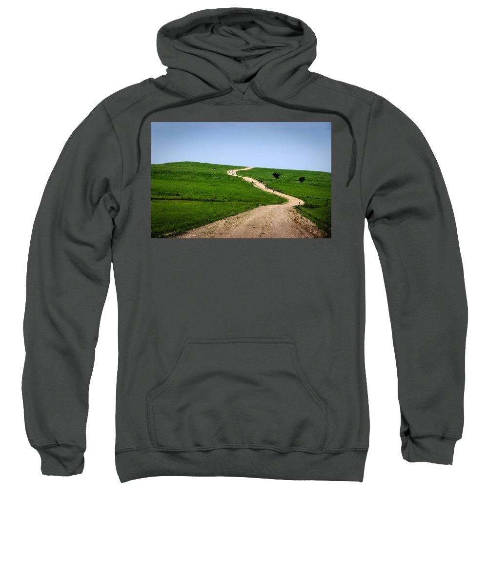 Gravel Sweatshirt featuring the photograph Battle Creek Road Teamwork by Eric Benjamin