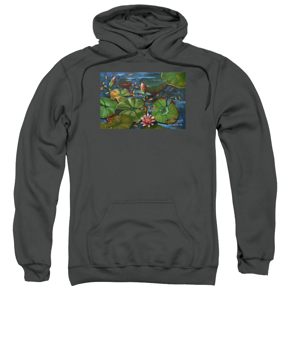 Water Lilies Sweatshirt featuring the painting Lily Pond II by CB Hume