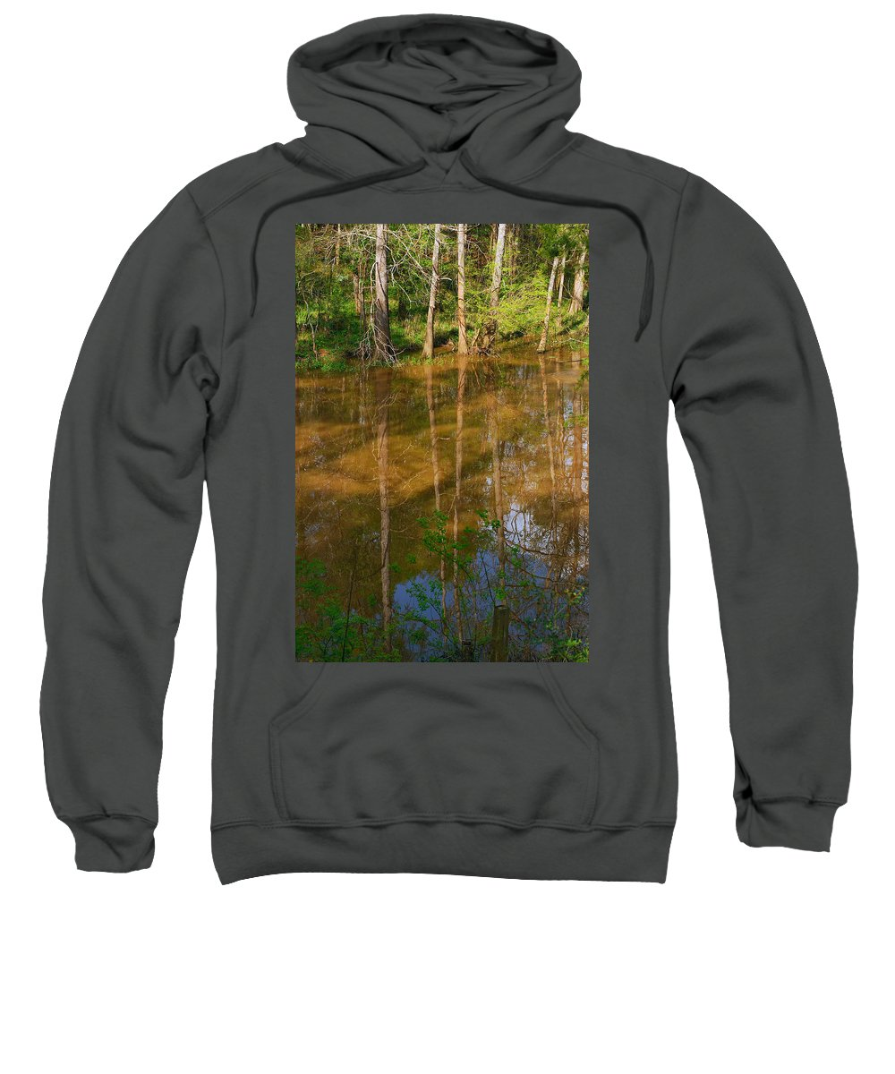 Bayou Sweatshirt featuring the photograph Bayou Reflections by Connie Fox