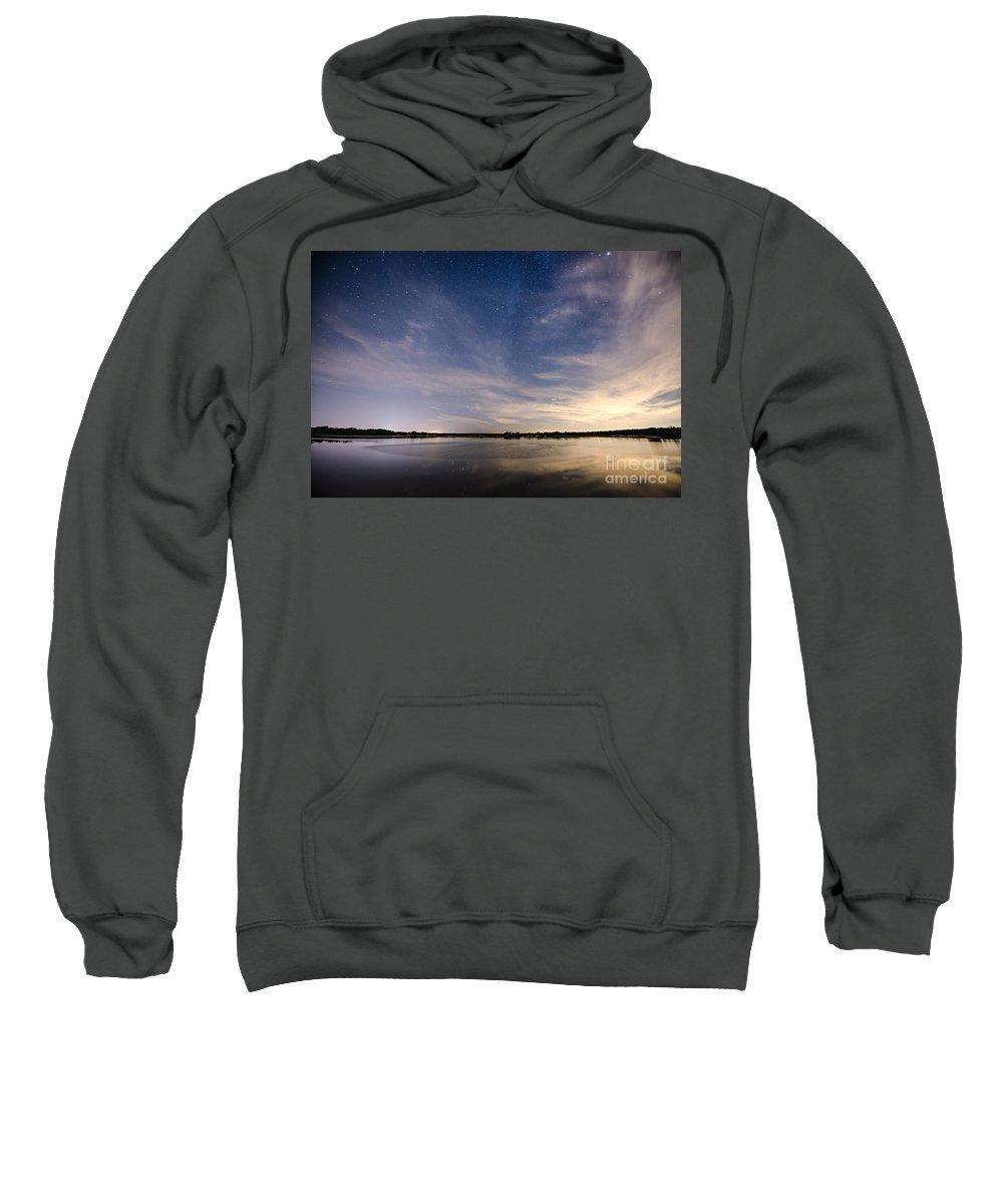 Fisheye Sweatshirt featuring the photograph Bayville Nj Milky Way by Michael Ver Sprill