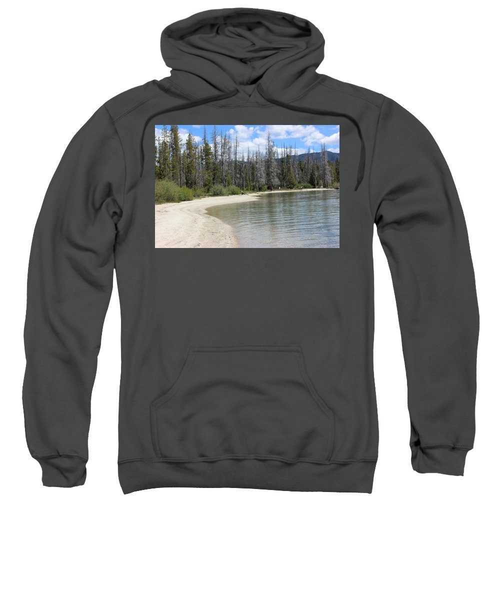Landscape Sweatshirt featuring the photograph Beach At Redfish Lake by Linda Meyer