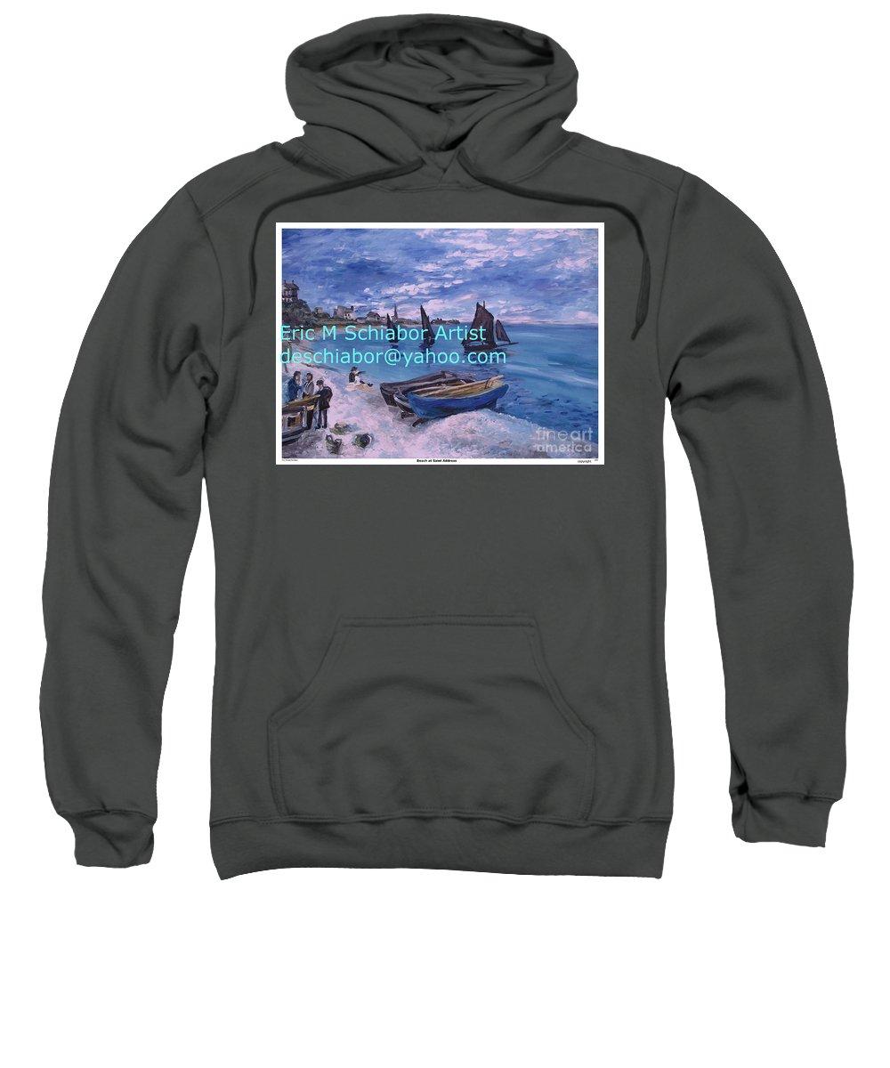 Beach At Saint Address Sweatshirt featuring the painting Beach At Saint Address by Eric Schiabor