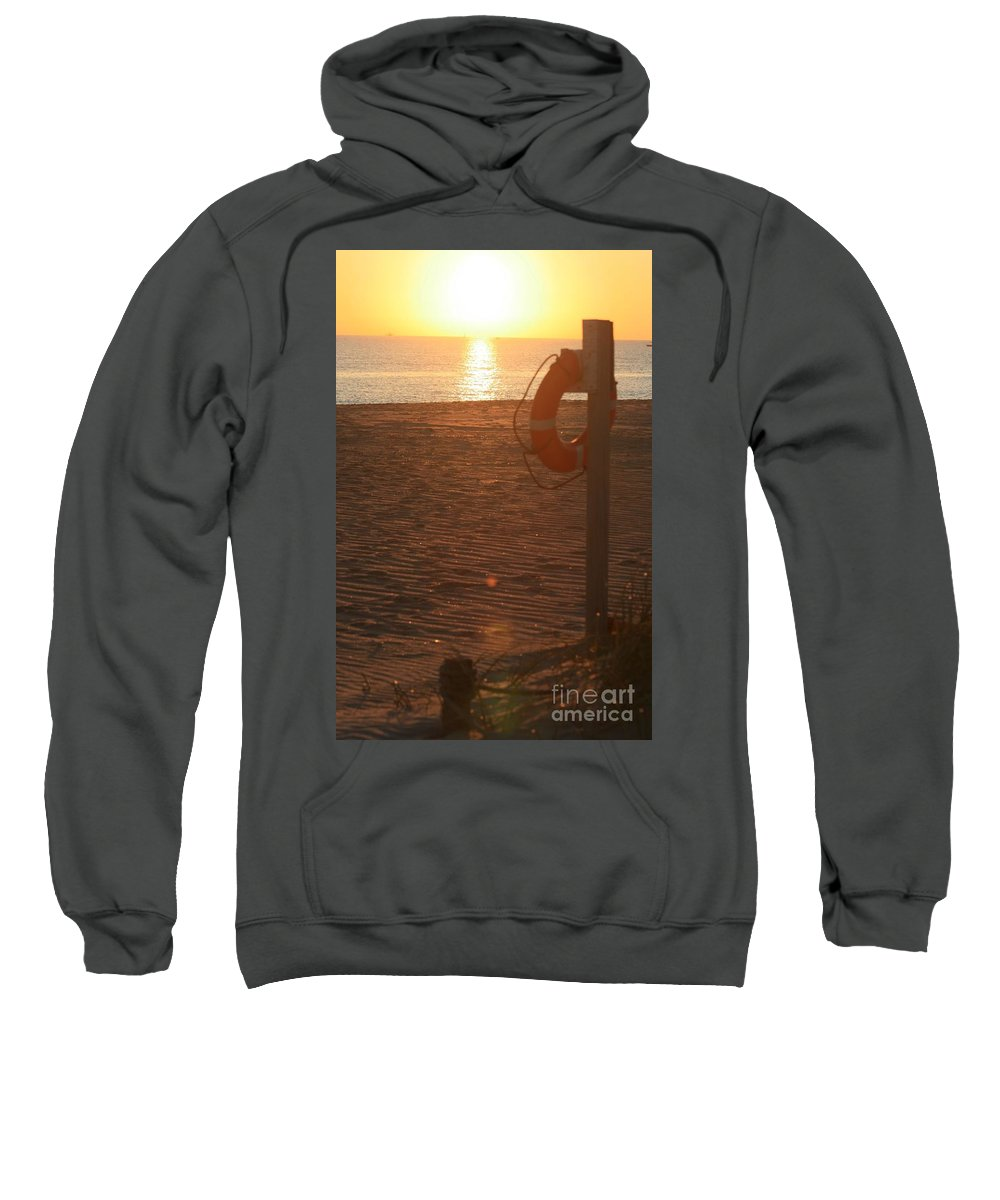 Beach Sweatshirt featuring the photograph Beach At Sunset by Nadine Rippelmeyer