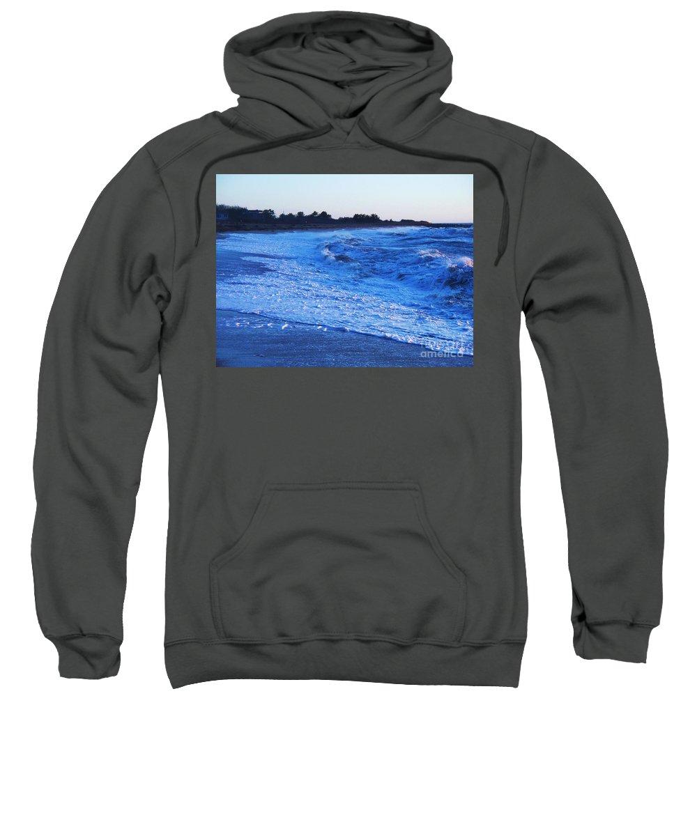 Beach Sweatshirt featuring the photograph Beach Back Wash by Eric Schiabor