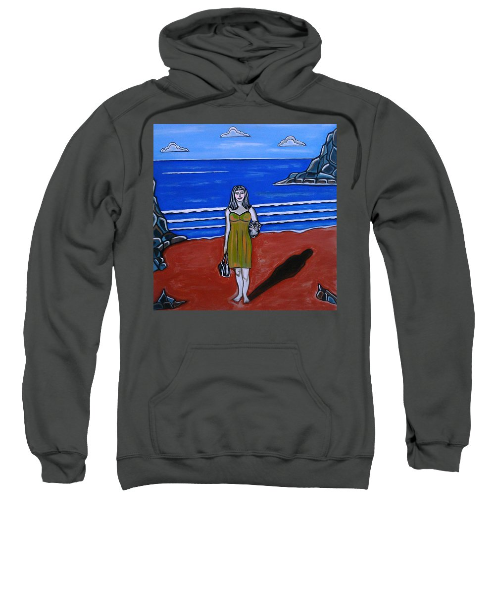 Beach Paintings Sweatshirt featuring the painting Beach Chic by Sandra Marie Adams