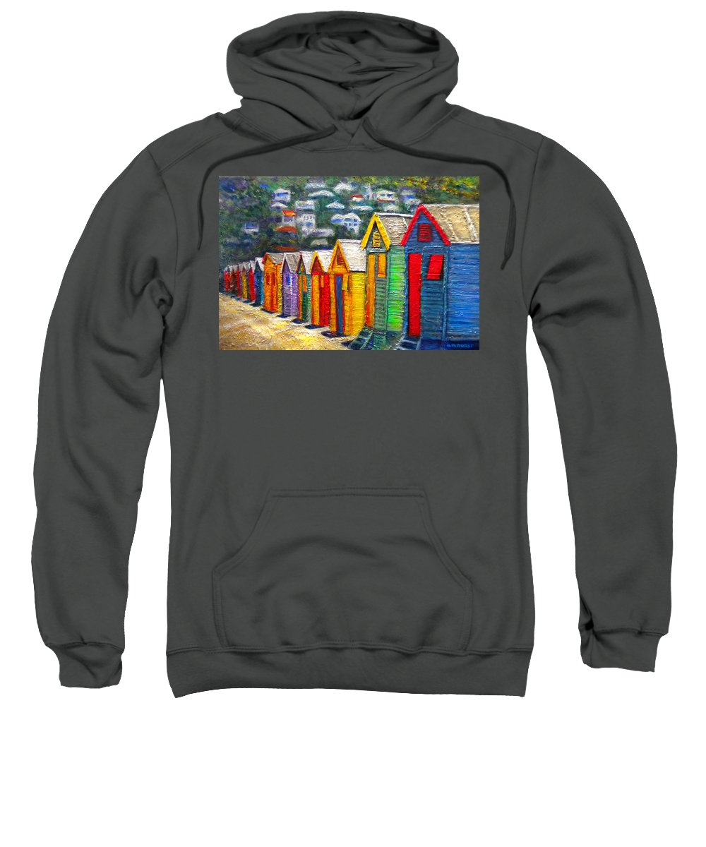 Beach Sweatshirt featuring the painting Beach Houses At Fish Hoek by Michael Durst