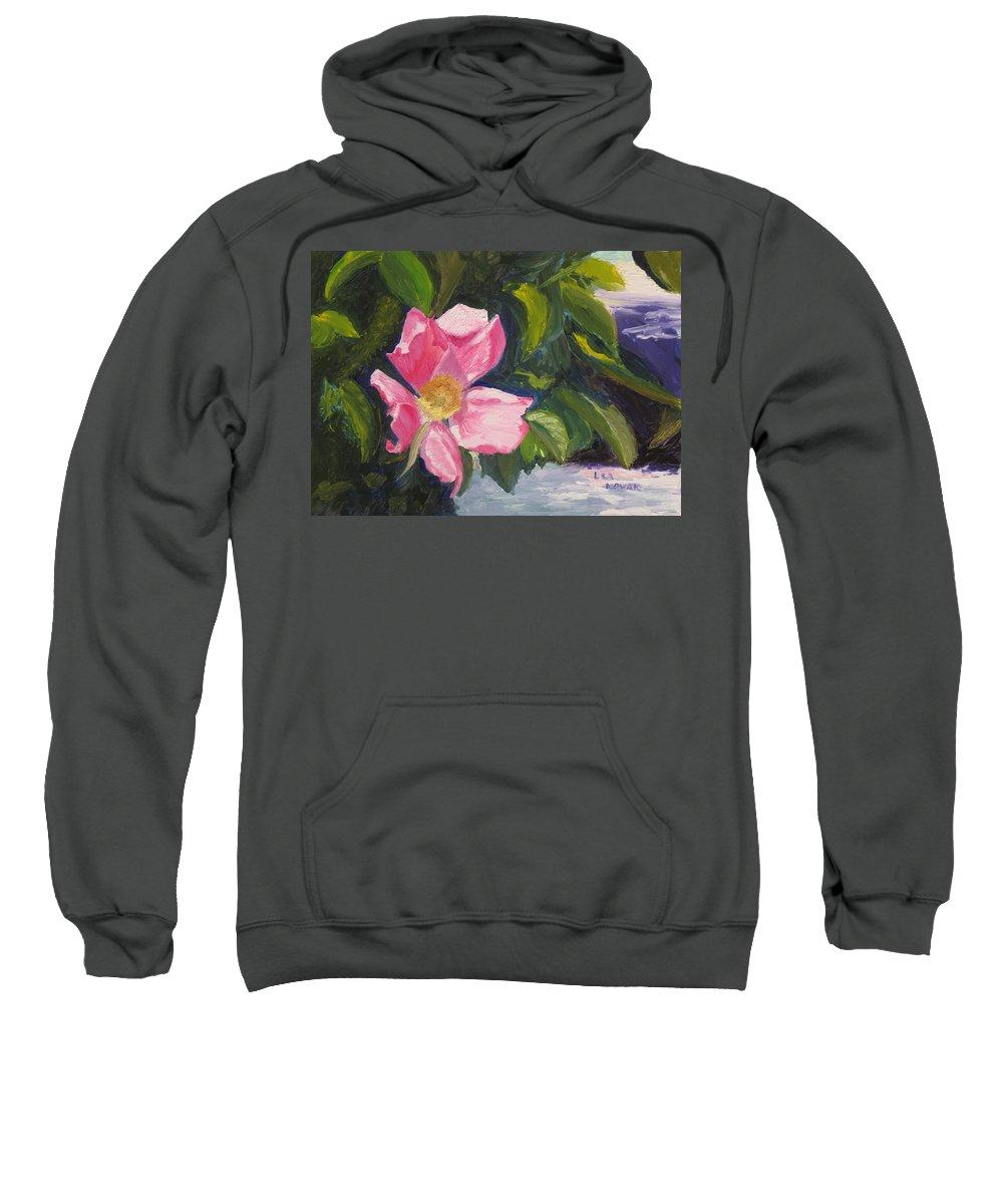 Flowers Sweatshirt featuring the painting Beach Rose Newport by Lea Novak