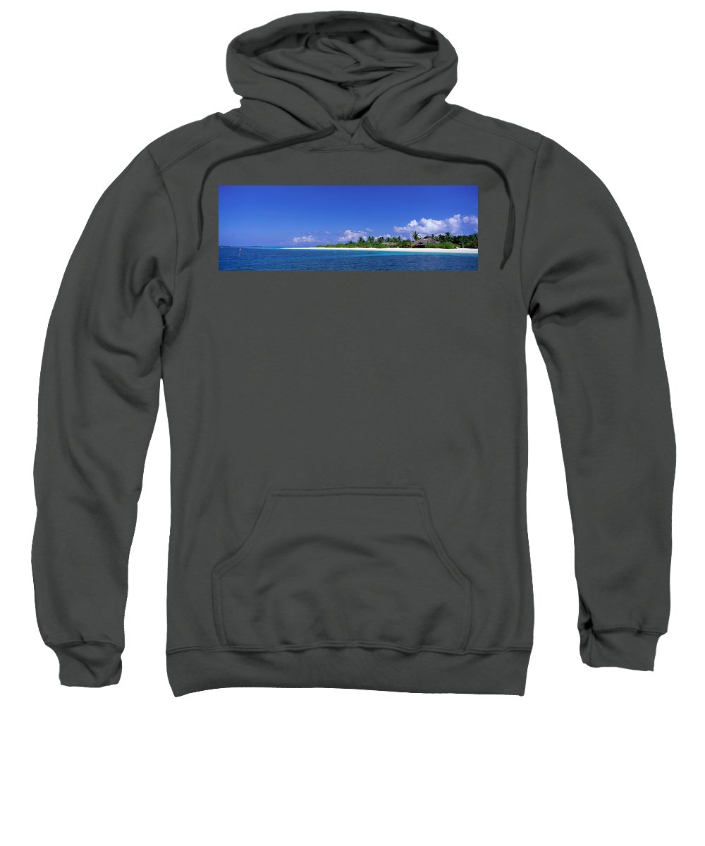 Photography Sweatshirt featuring the photograph Beach Scene Maldives by Panoramic Images
