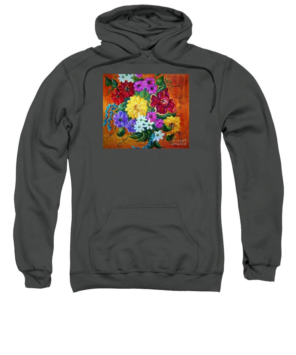 Flower Sweatshirt featuring the painting Beauties In Bloom by Eloise Schneider
