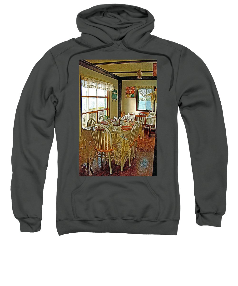 Bed And Breakfast Over The Water At Fishing Point In Saint Anthony Sweatshirt featuring the photograph Bed And Breakfast Over The Water At Fishing Point In Saint Anthony-nl by Ruth Hager