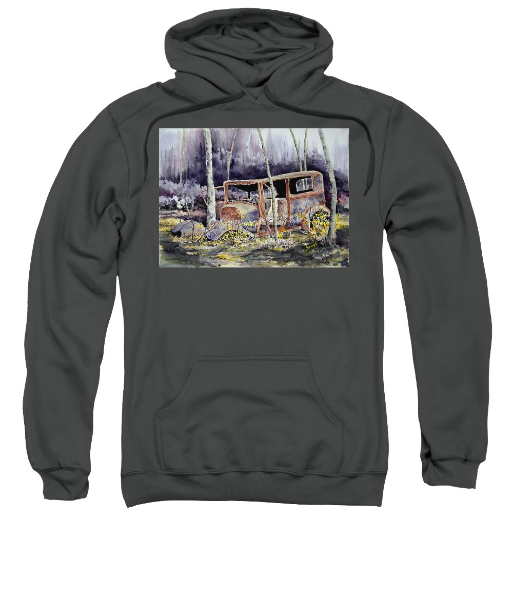 Car Sweatshirt featuring the painting Been There by Sam Sidders