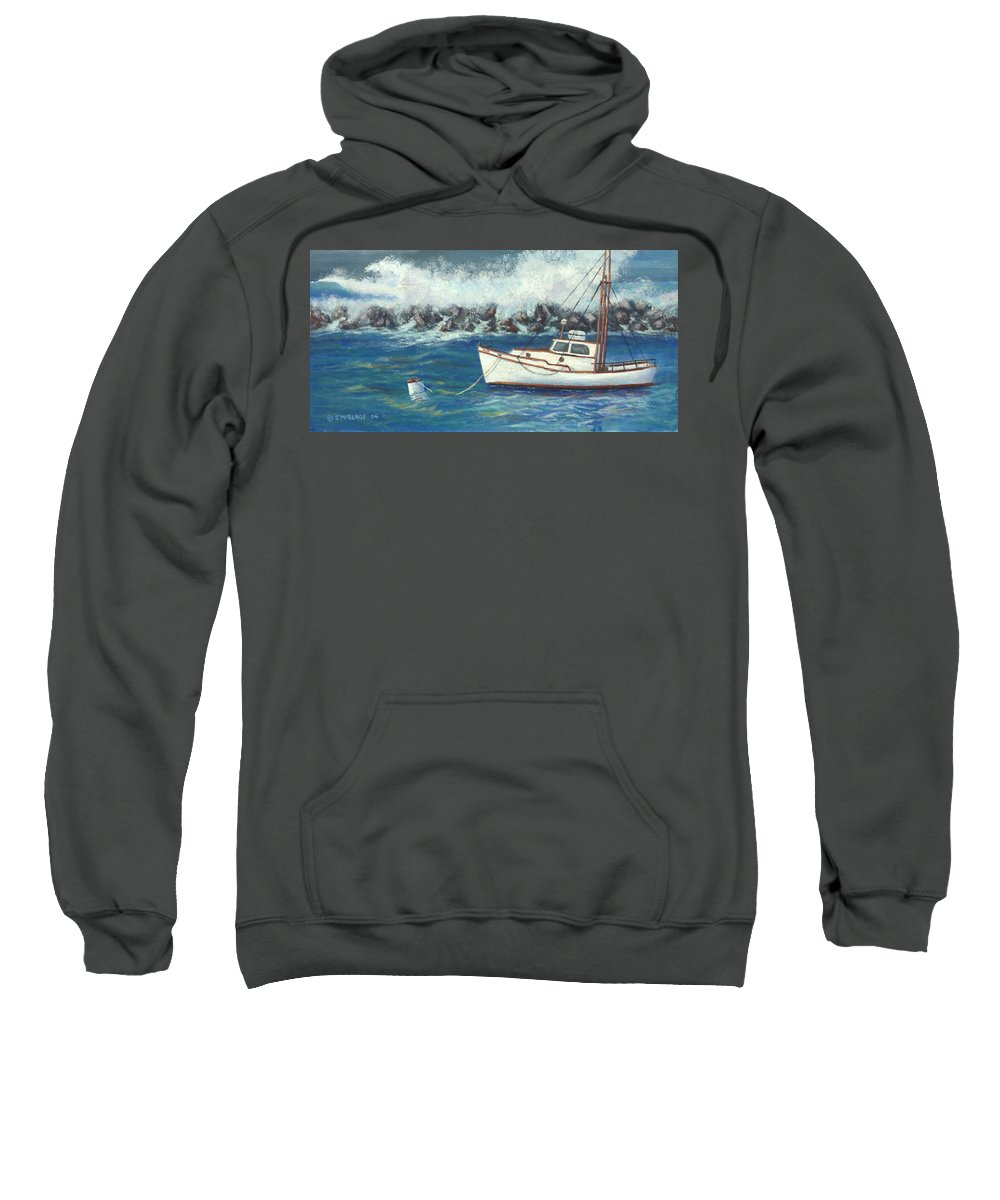Ocean Sweatshirt featuring the painting Behind The Breakwall by Jerry McElroy