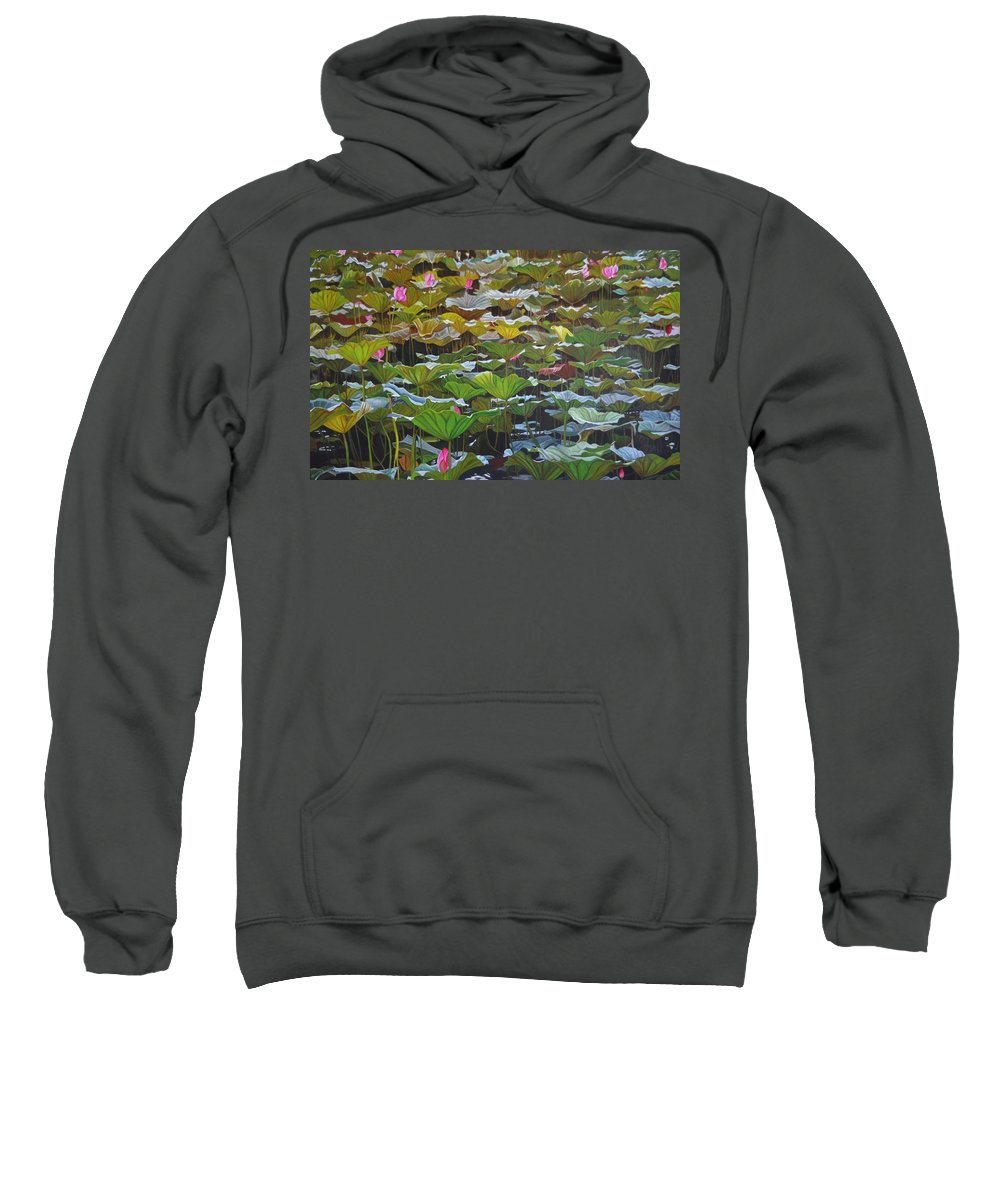 Waterlily Sweatshirt featuring the painting Beijing In August by Thu Nguyen