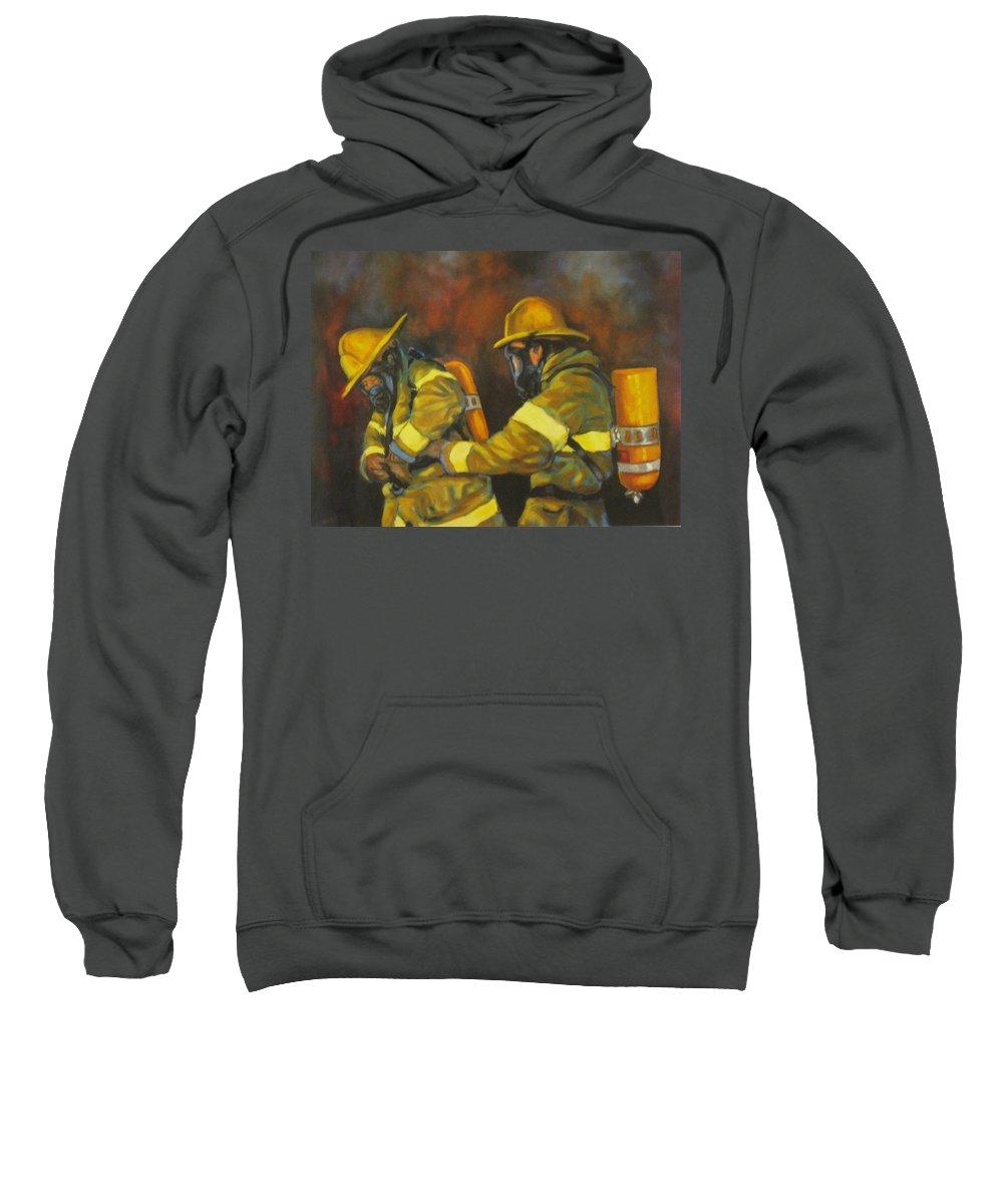 Benevolent Warriors Sweatshirt featuring the painting Benevolent Warriors by John Malone