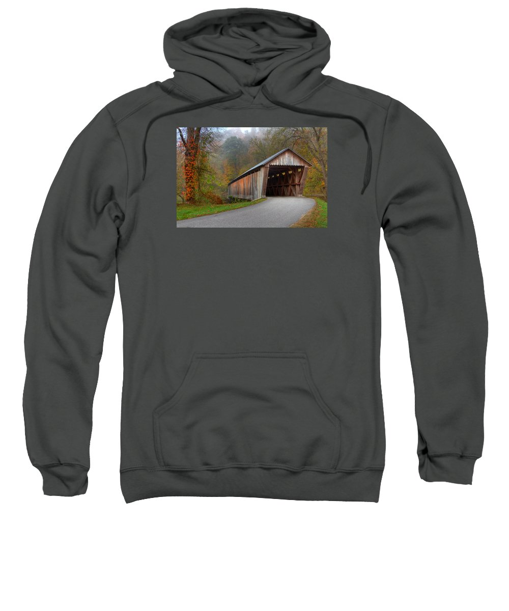 Ky Sweatshirt featuring the photograph Bennett Mill Covered Bridge by Jack R Perry