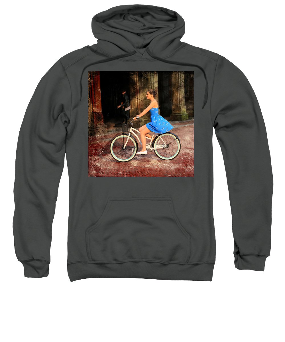 Bike Sweatshirt featuring the photograph Bicycle Girl 1c by Andrew Fare