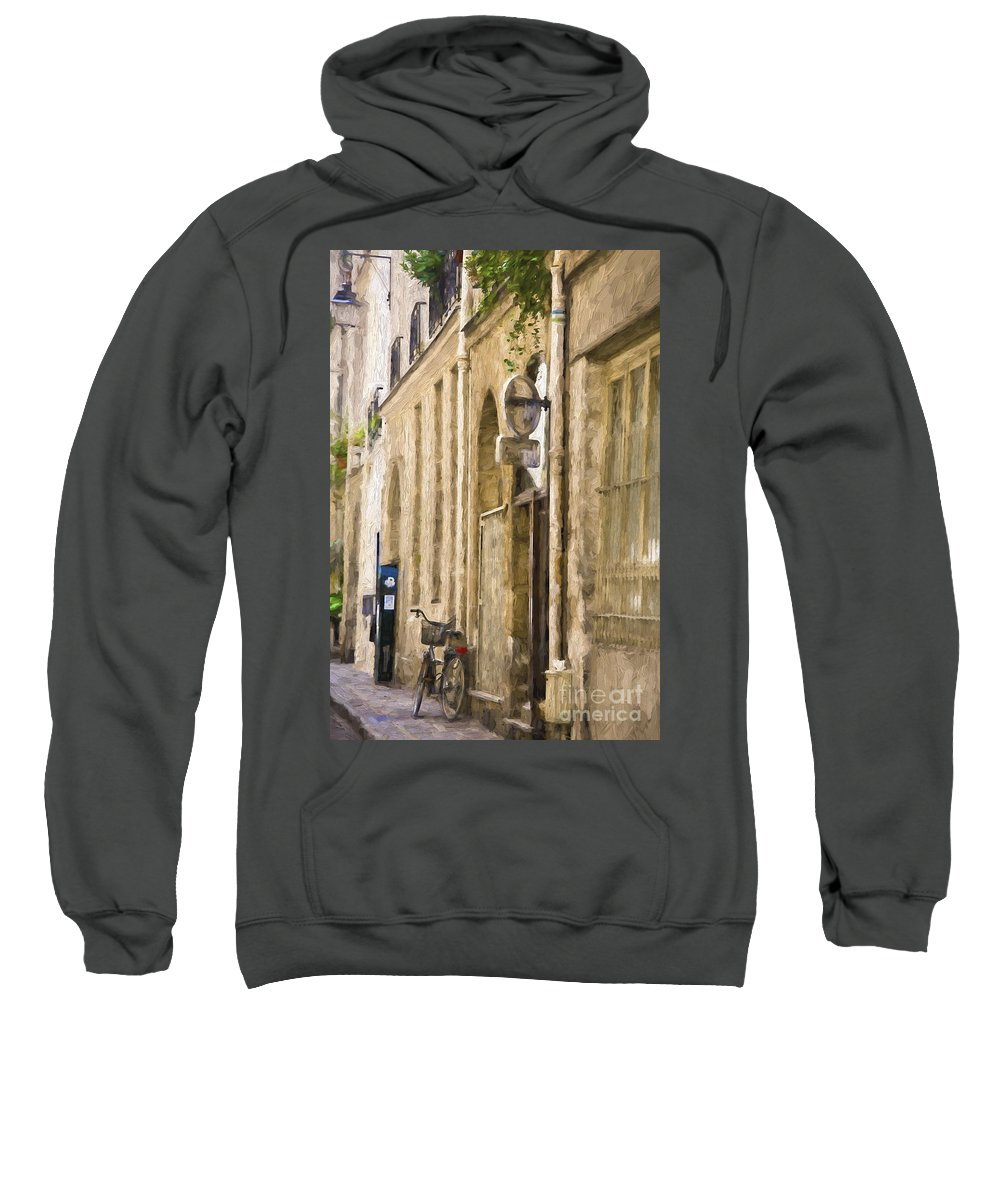 Paris Sweatshirt featuring the photograph Bicycle on Paris street by Sheila Smart Fine Art Photography