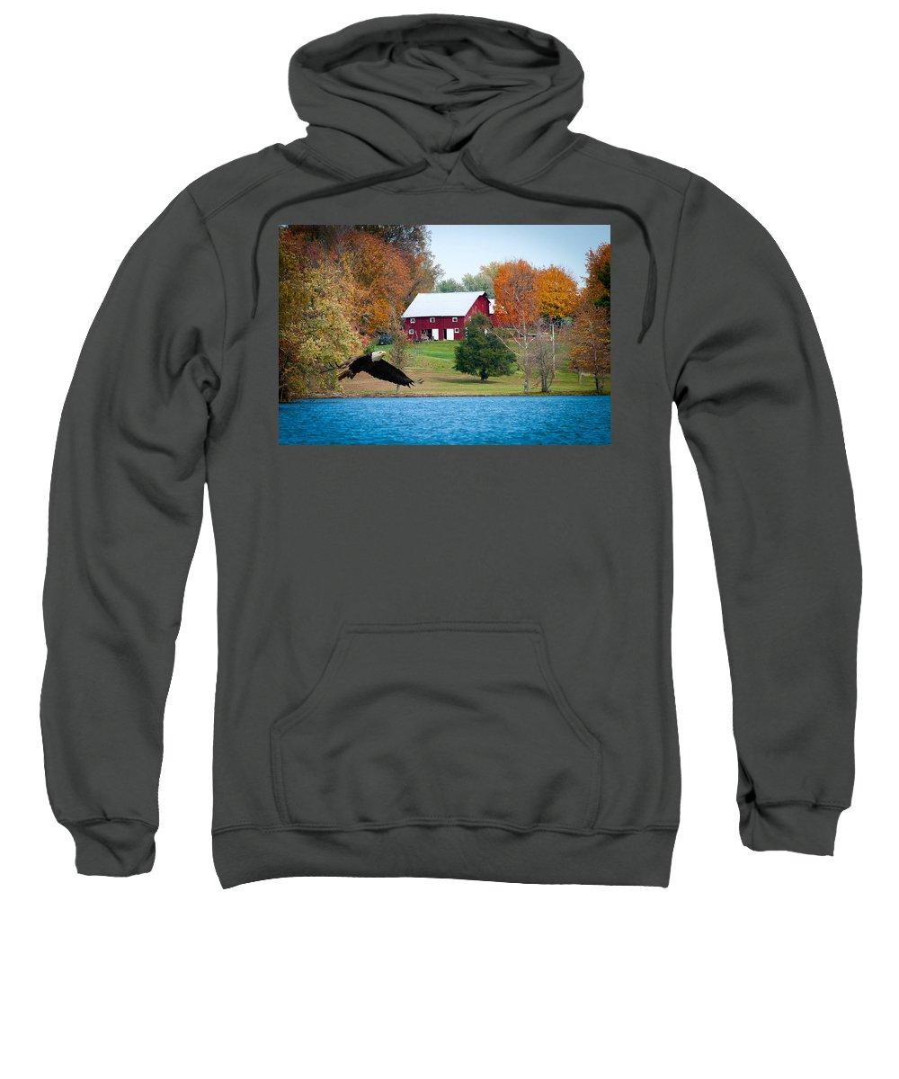 Big Red Barn Sweatshirt featuring the photograph Big Red Barn Eagle Rocky Fork by Randall Branham