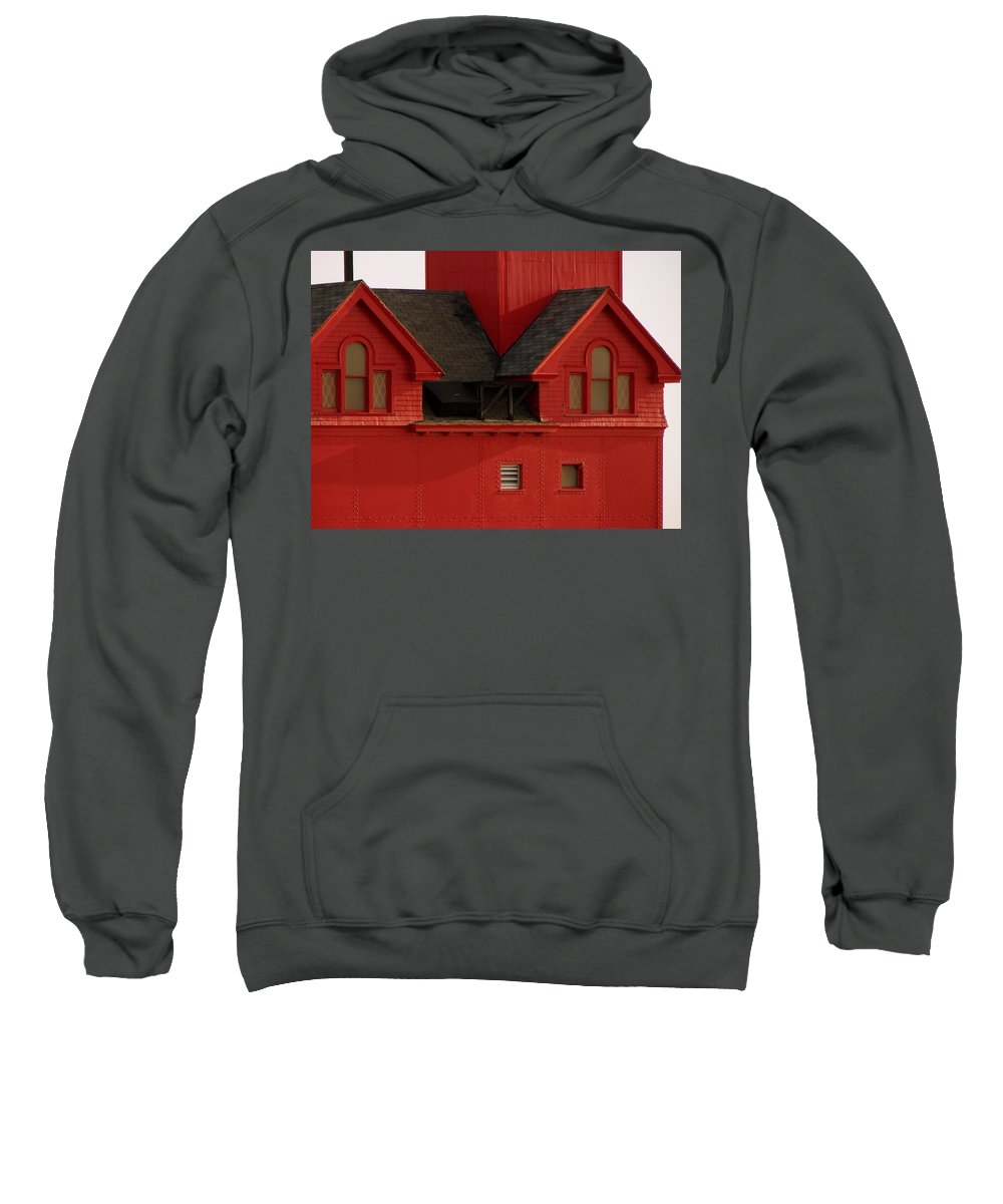 Windows Sweatshirt featuring the photograph Big Red Holland Harbor Light Michigan by Michelle Calkins