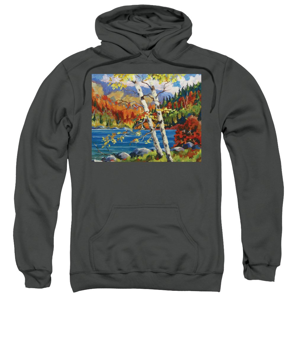 Art Sweatshirt featuring the painting Birches By The Lake by Richard T Pranke