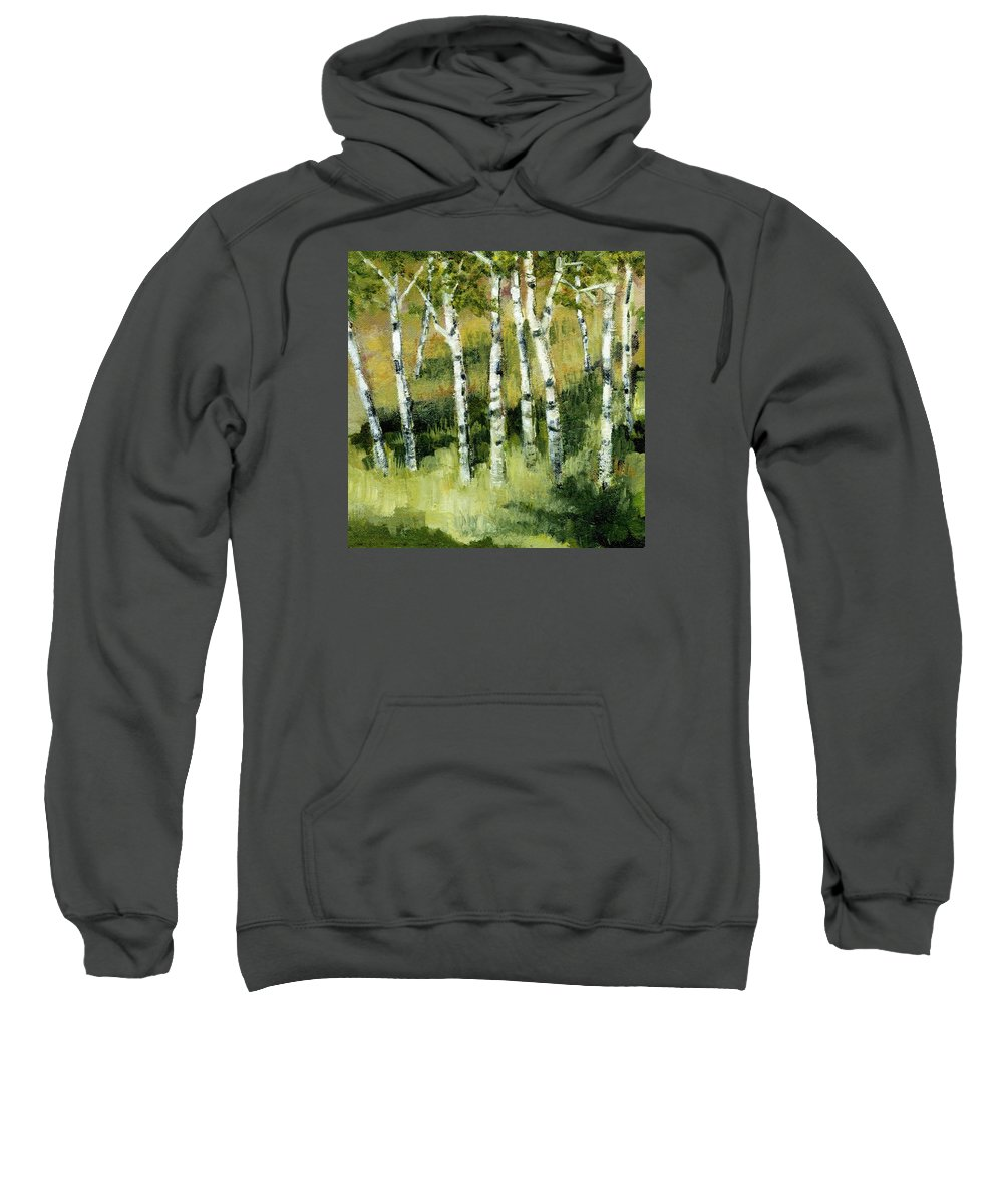 Trees Sweatshirt featuring the painting Birches On A Hill by Michelle Calkins